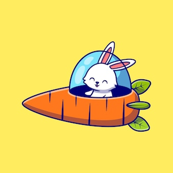 Nettes kaninchen, das karotten-raumschiff-karikatur-symbol-illustration treibt. tiertransport-symbol-konzept isoliert. flacher cartoon-stil