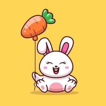 Nettes kaninchen, das karottenballon-karikaturillustration hält.
