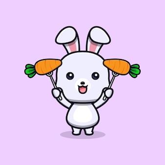 Nettes kaninchen, das karottentiermaskottchencharakter hält