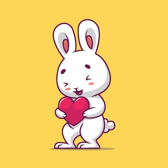 Nettes kaninchen, das liebeskarikaturillustration hält