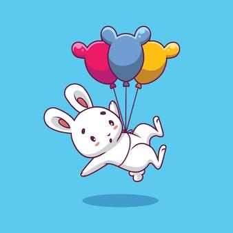 Nettes kaninchen, das mit ballonkarikaturillustration schwimmt