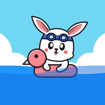 Nettes kaninchen, das mit schwimmringkarikaturillustration schwimmt