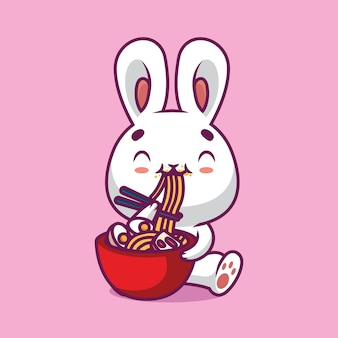 Nettes kaninchen, das ramen-nudel mit essstäbchen-karikaturillustration isst