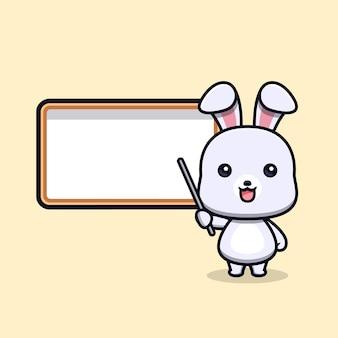 Nettes kaninchen, das tiermaskottchencharakter unterrichtet