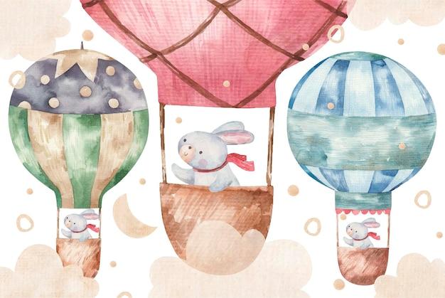 Nettes kaninchen fliegt auf farbigen luftballons, süße babyaquarellillustration auf weißem hintergrund