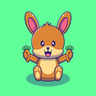 Nettes kaninchen-häschen, das karotten-illustration hält. kaninchen tiere maskottchen cartoon charaktere symbol konzept isoliert.