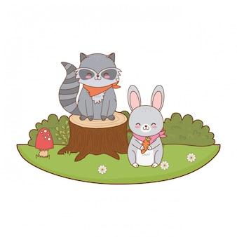Nettes kaninchen im feldwaldcharakter