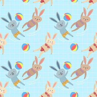 Nettes kaninchen im nahtlosen muster des swimmingpools.