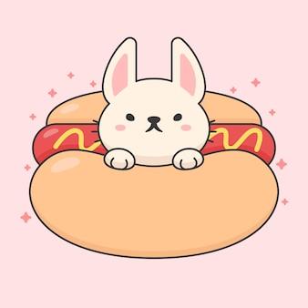 Nettes kaninchen in einem hotdog