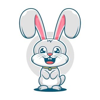 Nettes kaninchen lächelt karikaturmaskottchenlogoschablone