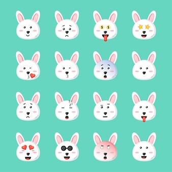 Nettes kaninchen mit emoticons gesetzt