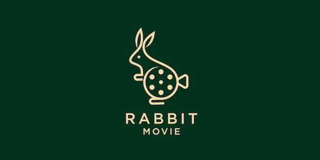 Nettes kaninchen mit filmausrüstungen. gutes logodesign für bewegungshersteller oder kinematographie premium-vektor