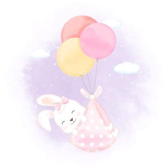 Nettes kaninchen mit gezeichneter neugeborenenillustration der ballonhand