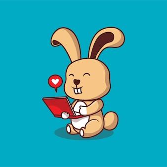 Nettes kaninchen mit notizbuchkarikaturillustration