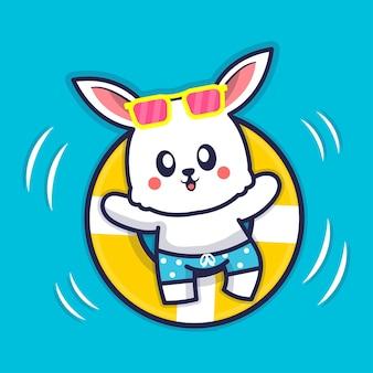Nettes kaninchen mit schwimmringkarikaturillustration