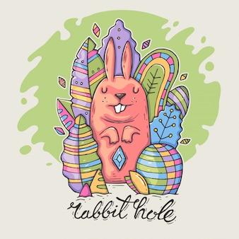 Nettes kaninchen unter dekorativen blättern.