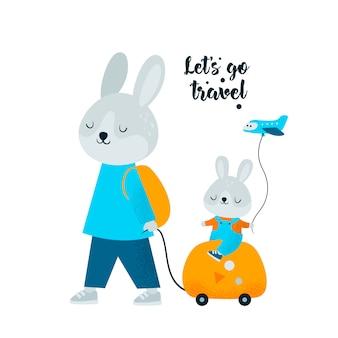 Nettes kaninchenhäschen mit tasche gehen zum sommerreisewochenende