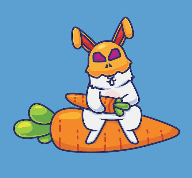 Nettes kaninchenkostüm, das eine karotte hält. isolierte cartoon-tier-halloween-illustration. flacher stil geeignet für sticker icon design premium logo vektor. maskottchen-charakter