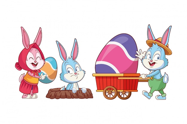 Nettes kaninchenloch der glücklichen freunde des osterhasen
