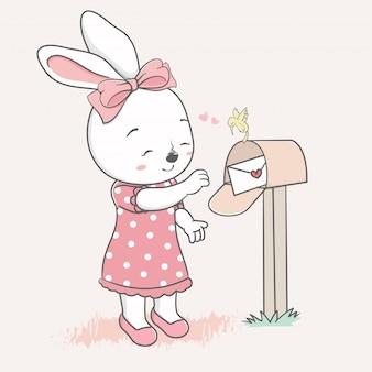 Nettes kaninchenmädchen empfangen eine gezeichnete liebesbriefkarikaturhand