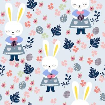 Nettes kaninchenmädchen im blumenrahmen, fröhliche ostern