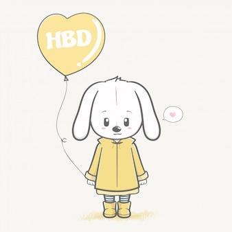 Nettes kaninchenmädchen mit der ballonkarikaturhand gezeichnet