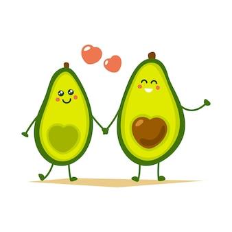 Nettes karikatur-avocado-paar, das hände hält.