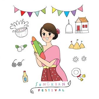 Nettes karikatur songkran festival thailand. doodel frau im thailändischen kleid, das wasserwerfer spielt.