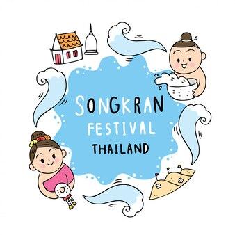 Nettes karikatur songkran festival thailand. junges mädchen und junge inthai kleiden das spielen des wassers