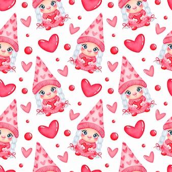 Nettes karikatur-valentinstag-gnom-mädchen in der liebe nahtloses muster