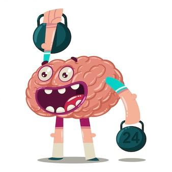 Nettes karikaturgehirn bildet mit gewichten aus. vektorcharakter eines inneren organs lokalisiert. brainstorming-charakter.