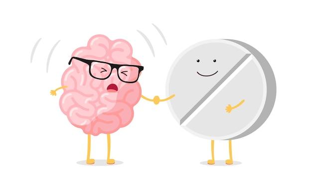 Nettes karikaturkrankes menschliches gehirn mit kopfschmerzen und medizinpille. krankes organ des zentralen nervensystems. flache vektor-cartoon-schmerz-charakter-illustration