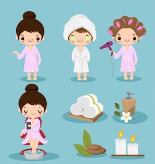 Nettes karikaturmädchen, das badekurorttheraphiesammlungssatz tut