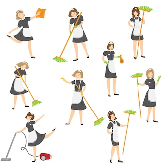 Nettes karikaturmädchen, das in verschiedenen aktionssituationen aufstellt. hausmädchen-charakter in einem klassischen französischen outfit mit einem schwarzen kleid und einer weißen schürze.
