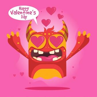 Nettes karikaturmonster für glückliche valentinstagkarte