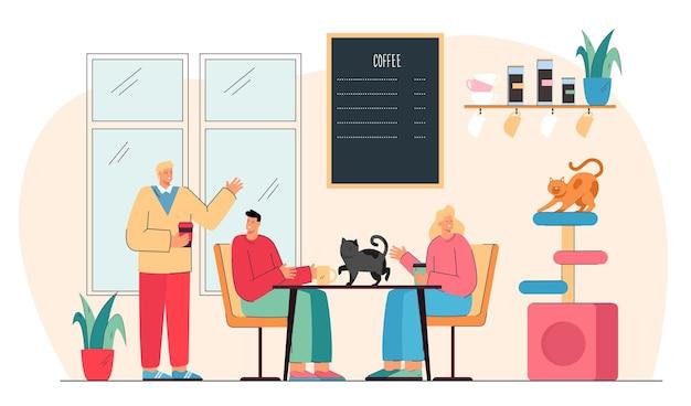 Nettes karikaturpaar, das kaffee im katzencafé trinkt