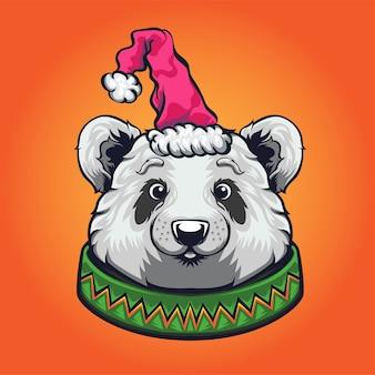 Nettes karikaturpanda-weihnachtslogo-maskottchen