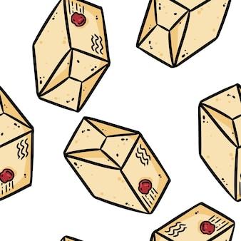 Nettes karikaturpostpaket kritzelt nahtloses grenzmuster. vektor wiederholbare hintergrundtexturfliese. gemütliche bastelvorlage der stockillustration für verpackungsdesign, tapete