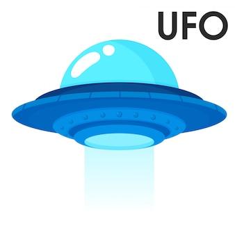Nettes karikaturraumfahrzeug vom weltraum oder vom ausländischen ufo