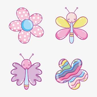 Nettes karikatursammlungsvektor-illustrationsgrafikdesign