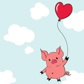 Nettes karikaturschwein, das mit herzformballon hängt.