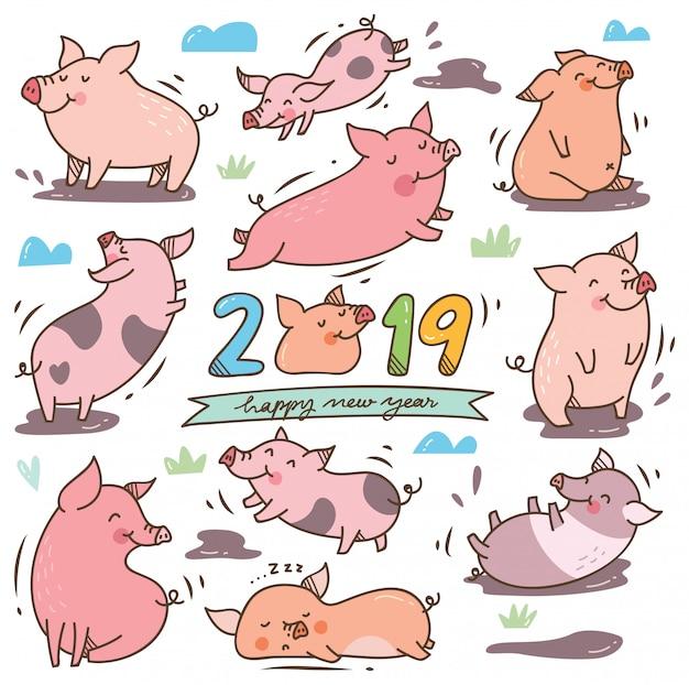 Nettes karikaturschwein für festival des chinesischen neujahrsfests