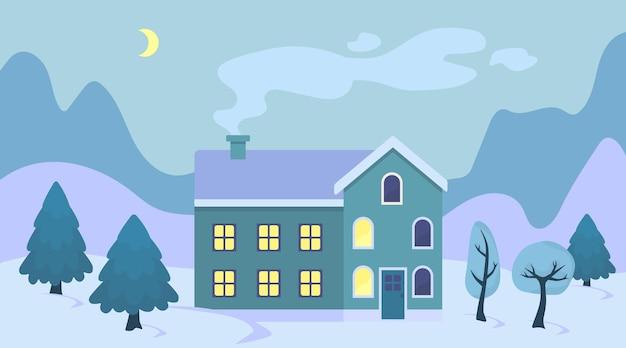 Nettes karikaturweihnachtshaus in der schneelandschaftsillustration winterlandschaftsretrostadtaußenseite
