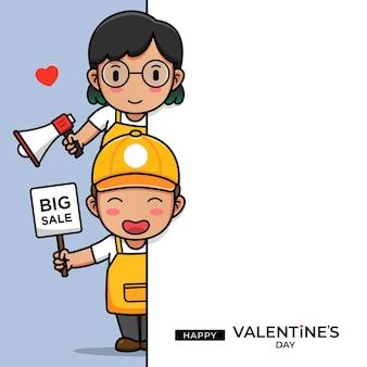 Nettes kassiererpaar mit glücklichem valentinstaggruß