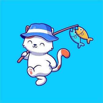 Nettes katzenfischen mit stangen und hut cartoon icon illustration.