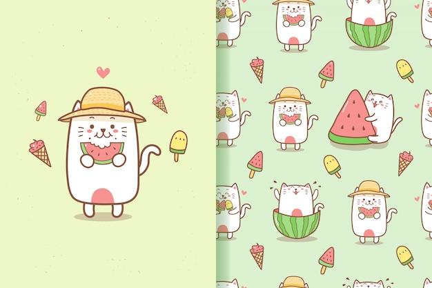 Nettes katzenkarikatur-sommer nahtloses muster, das wassermelone und eis isst