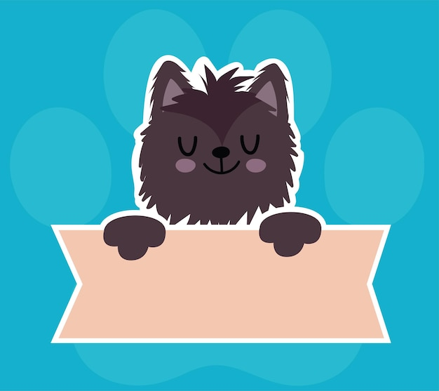 Nettes katzenkatzen-tier mit fahne, haustierkarikatur auf blauer hintergrundillustration