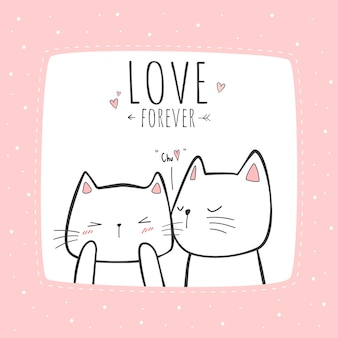 Nettes katzenpaar, das cartoon-gekritzelkarte küsst