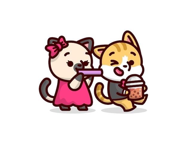 Nettes katzenpaar, das ein boba-getränk spielt und mitbringt. valentinstag illustration