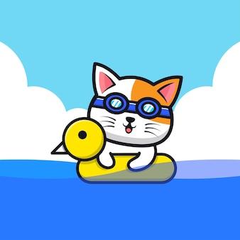 Nettes katzenschwimmen mit schwimmringkarikaturillustration